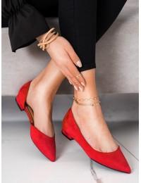 Raudonos spalvos zomšiniai elegantiški bateliai\n - MM-593R