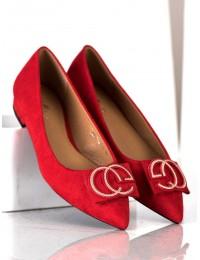 Elegantiški raudoni bateliai su dailiu papuošimu priekyje - FM3107R