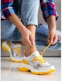 Natūralios odos sportinio stiliaus batai su geltonos spalvos apdaila - GD-FT-81W/Y