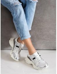 Natūralios odos sportinio stiliaus batai su sidabro spalvos apdaila - GD-FT-81W/S