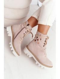 Itin aukštos kokybės stilingi natūralios odos batai ažūriniu aulu - 05033-04/00-5 BEŻ