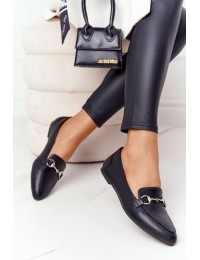 Elegantiški juodi Sergio Leone bateliai - MK711 PU BLK