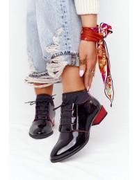 Natūralios odos juodi itin aukštos kokybės klasikiniai batai - 04744-16/00-5 CZARNY Z CZERWONYM