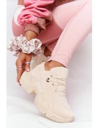 Smėlio spalvos modernaus dizaino stilingi sportinio stiliaus batai\nBeige Bubbly - LA95 BEIGE