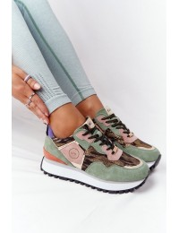 Natūralios odos išskirtiniai stilingi aukštos kokybės originalūs batai GOE Green-Gold - HH2N4002 GREEN/GOLD