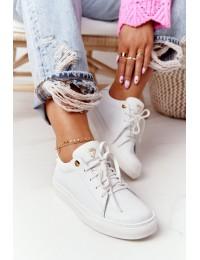 Balti natūralios odos suvarstomi aukštos kokybės batai White Nicole  - 2640 003 WHITE