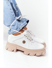 Madingi natūralios odos Oxfords White batai su platforma - 3011-0 BIAŁY GROCH