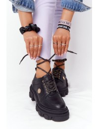 Madingi natūralios odos Oxfords Black batai su platforma - 3011-0 CZARNY GROCH