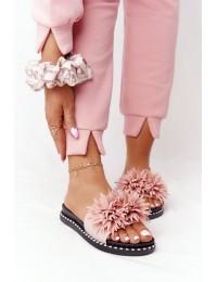Stilingos rožinės šlepetės su puriomis gėlėmis - 20-30101 PINK