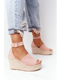 Stilingos elegantiškos basutės su platforma Light Pink Makenna - BL1920-11 PINK