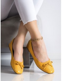 Geltonos spalvos nuotaikingi elegantiški bateliai - GD-OD-92Y