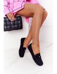 Zomšiniai natūralios odos juodi stilingi mokasinai - 97609 BLK
