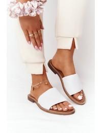 Odinės baltos spalvos stilingos šlepetės - 2650/003 WHITE
