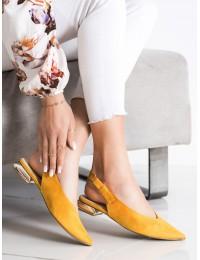 Geltoni stilingi bateliai dekoratyviu kulnu - GD-FL357Y