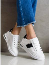 Balti stilingi odiniai bateliai papuošti juoda juostele - LE6019W/B