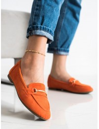 Elegantiški zomšiniai oranžinės spalvos mokasinai\n - 88-385OR