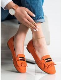 Oranžinės spalvos elegantiški mokasinai - 88-381OR