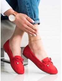 Elegantiški raudoni zomšiniai bateliai su kaspinėliu - 88-386R