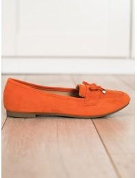 Elegantiški oranžinės spalvos zomšiniai bateliai su kaspinėliu\n - 88-386OR