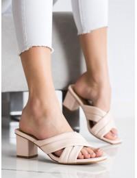 Elegantiškos odinės stilingos šlepetės - OM5454BE
