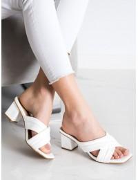 Elegantiškos odinės stilingos šlepetės - OM5454W