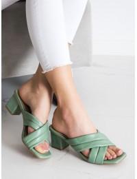 Elegantiškos odinės stilingos šlepetės - OM5454GR