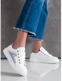 Baltos odos stilingi bateliai su mėlynos spalvos apdaila - 1062BL