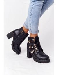Madingi juodi batai dekoruoti sagtelėmis - D37-7 BLACK