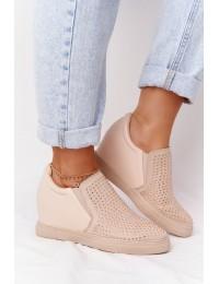 Švelnios smėlio spalvos batai su platforma - XW37005 BEIGE PU