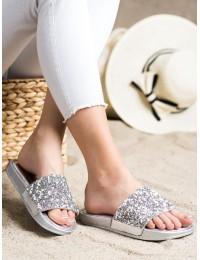 Sidabrinės šlepetės dekoruotos kristalais - SK61-3S