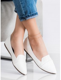 Elegantiški stilingi balti bateliai\n - CD78W