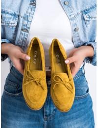 Klasikiniai zomšiniai geltonos spalvos stilingi bateliai - 9934Y