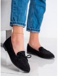 Klasikiniai zomšiniai juodos spalvos stilingi bateliai - 9934B