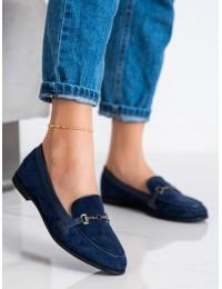 Stilingi mėlyni zomšiniai mokasinai su papuošimu - 8742BL