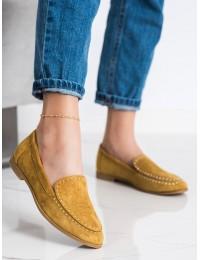 Stilingi geltonos spalvos zomšiniai bateliai - 4322Y