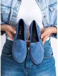 Stilingi mėlynos spalvos zomšiniai bateliai - 4322JE