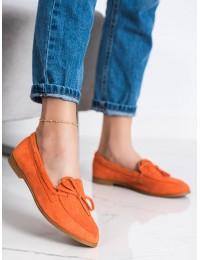 Stilingi oranžinės spalvos zomšiniai bateliai - 3394OR