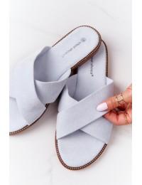 Stilingos šlepetės sukryžiuotais dirželiais - 5143 LT.BLUE