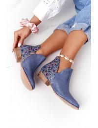 Natūralios odos rankų darbo aukštos kokybės batai - 04091-64/00-5 GRANAT,KWIATKI