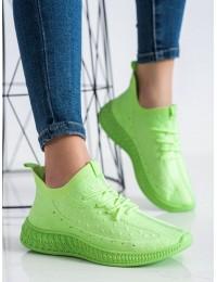 Ryškios žalios spalvos elastingi sportinio tipo bateliai - PC01GR