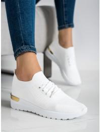 Baltos spalvos laisvalaikio stiliaus bateliai su minimalistine aukso spalvos apdaila\n - G-363W