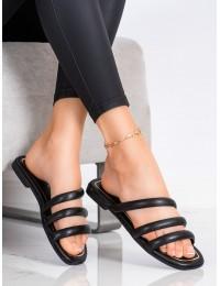 Elegantiškos odinės juodos šlepetės - JH196B