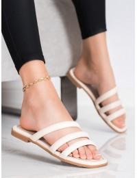Elegantiškos odinės smėlio spalvos šlepetės - JH196BE