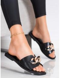 Elegantiškos stilingos juodos šlepetės - 377B