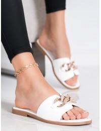 Elegantiškos stilingos baltos šlepetės - 377W