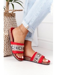 Slippers On Cork Sole With Cubic Zirconia Red Be Nice - 20SD10-2450 RED