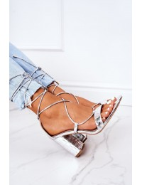 Lace-up High Heel Sandals Silver Catwalk - SY63P SILVER