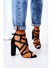 Suede Sandals On A Block Heel Camel Emolly - LE071P CAMEL