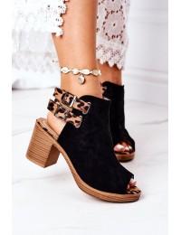 Suede Sandals On A Block Heel Lu Boo Black Leopard - 318-29 BLACK/CAMEL