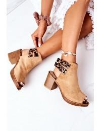 Suede Sandals On A Block Heel Lu Boo Camel Leopard - 318-29 CAMEL/CAMEL